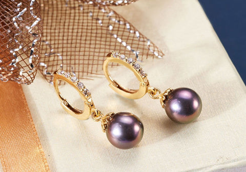 Peacock Pearl Gold Earrings - AME Jewellery