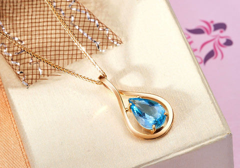 Blue Topaz Gold Pendant - AME Jewellery