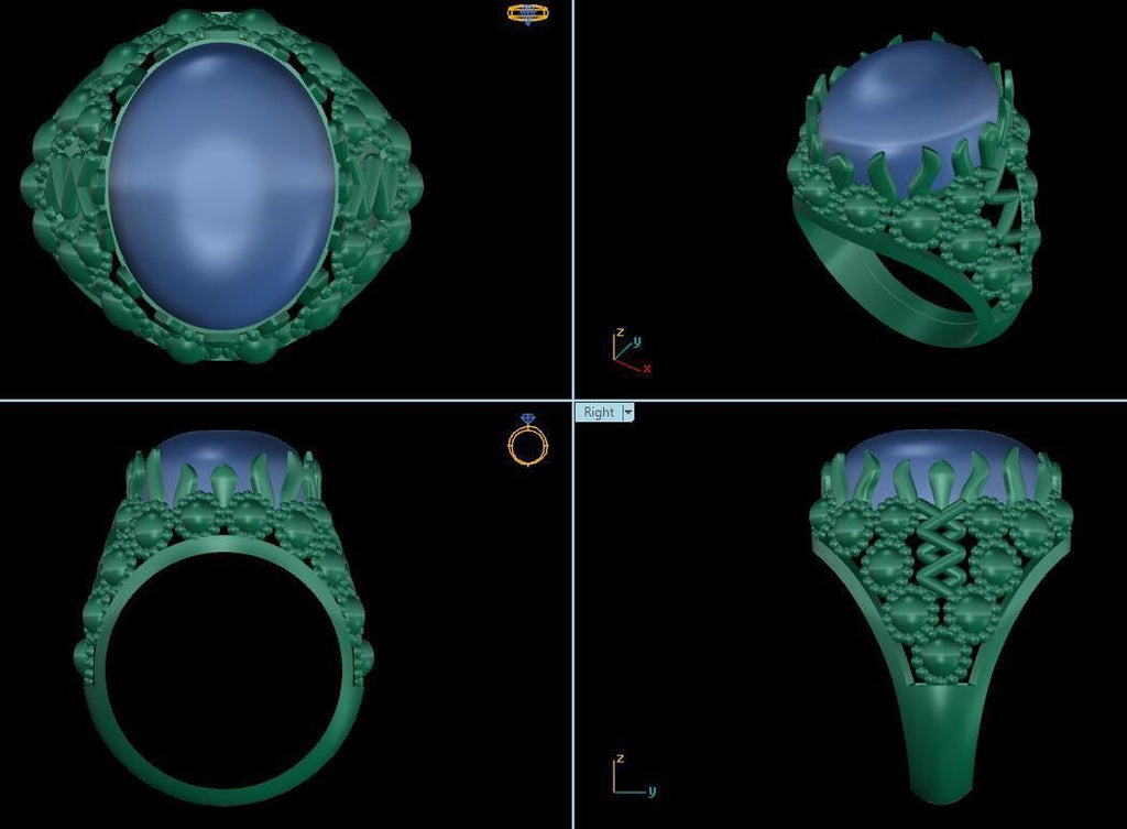 3D design of Ruby cabochon ring - AME Jewellery