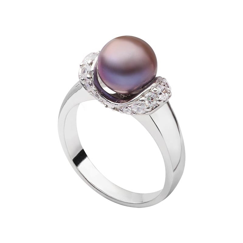 Nhẫn Ngọc trai Nước ngọt peacock pearl accent ring - AME Jewellery