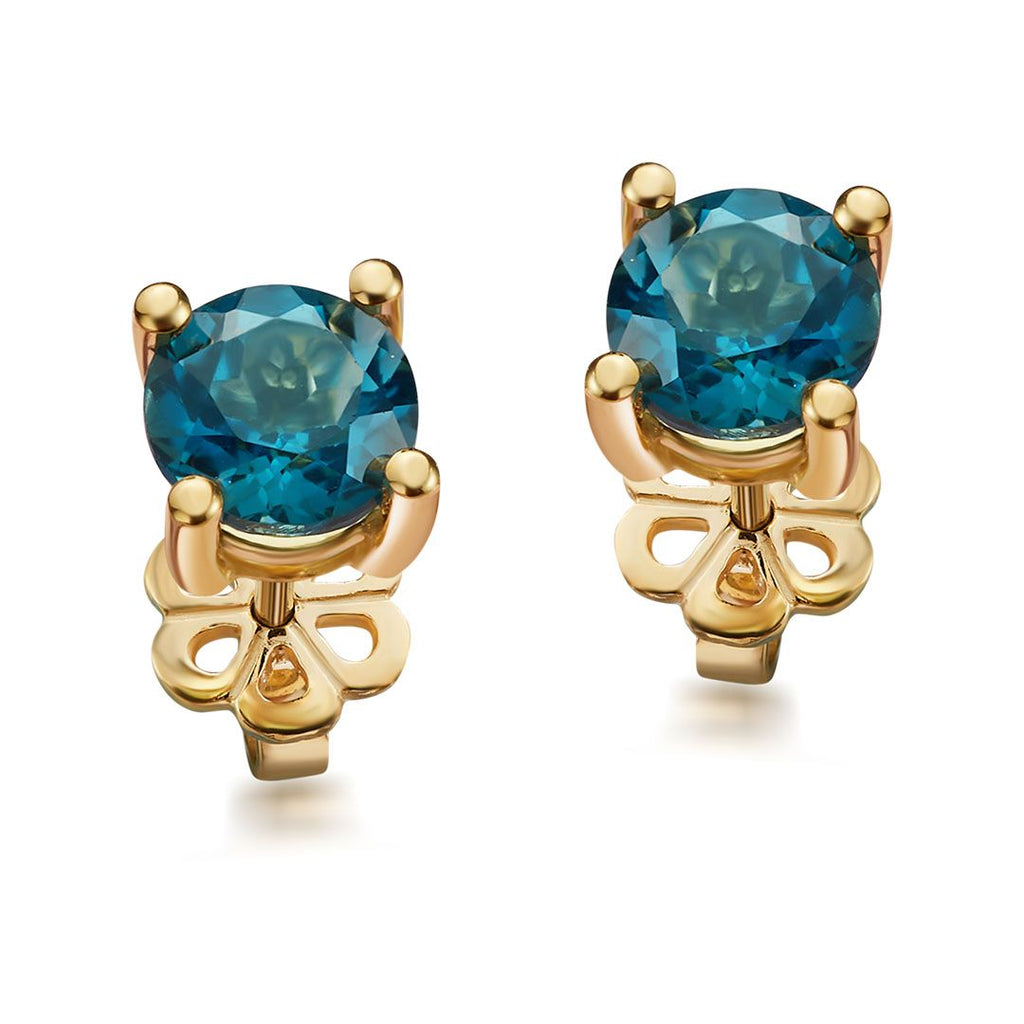 Bông tai Vàng 14K Đá quý London Blue Topaz 4 prong gold earrings - AME Jewellery