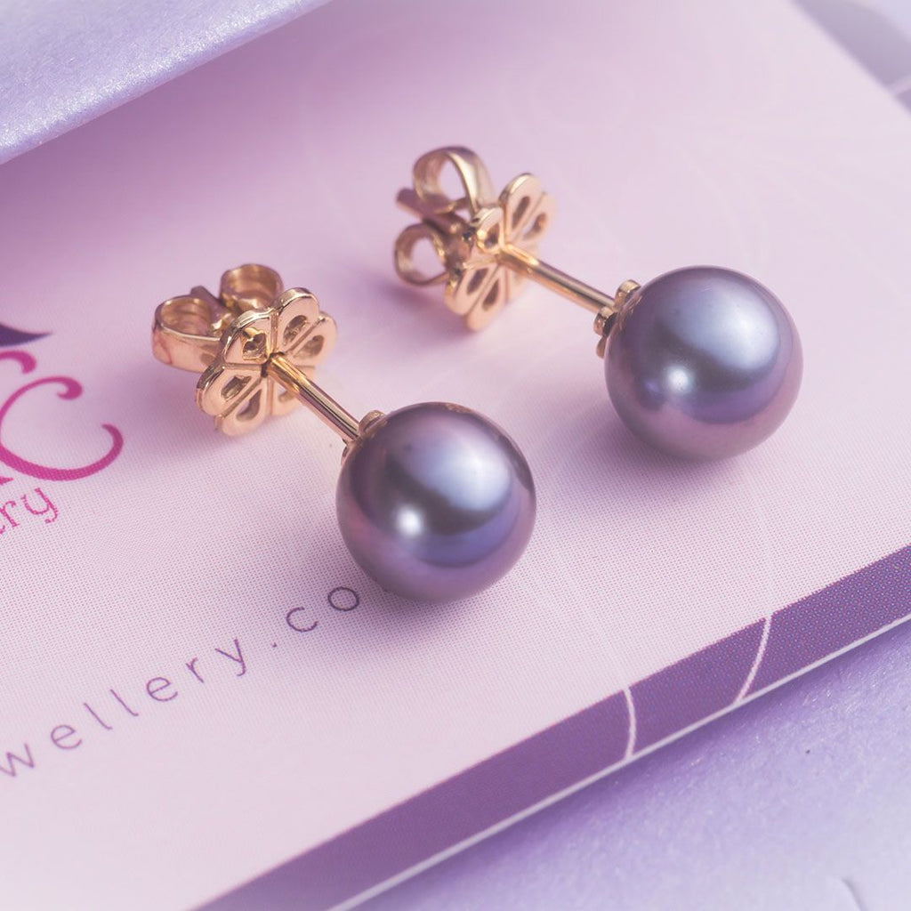 Bông tai Ngọc trai Peacock Freshwater Pearl Earrings in 14K Gold - AME Jewellery