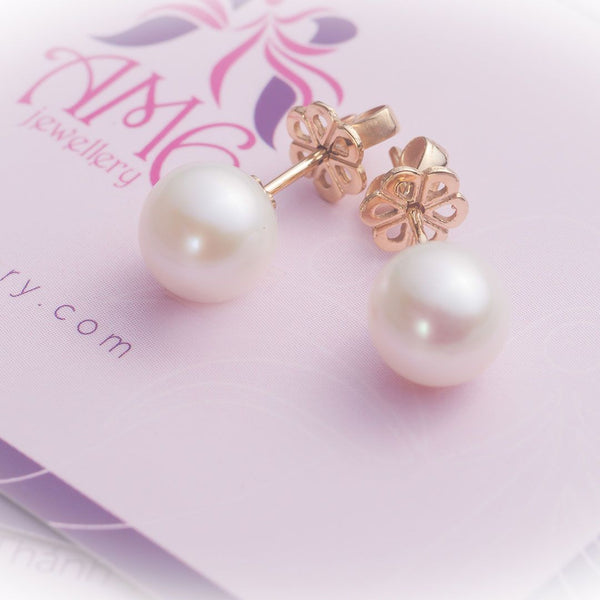 Bông tai vàng Ngọc trai Freshwater Pearl Earrings in 14K Gold - AME Jewellery