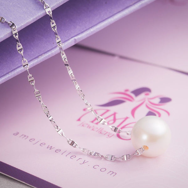 Dây chuyền Vàng 18K Ngọc trai White Freshwater Pearl Necklace - AME Jewellery