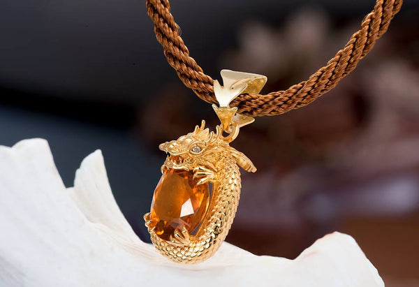 Citrine Dragon Pendant for Men - AME Jewellery