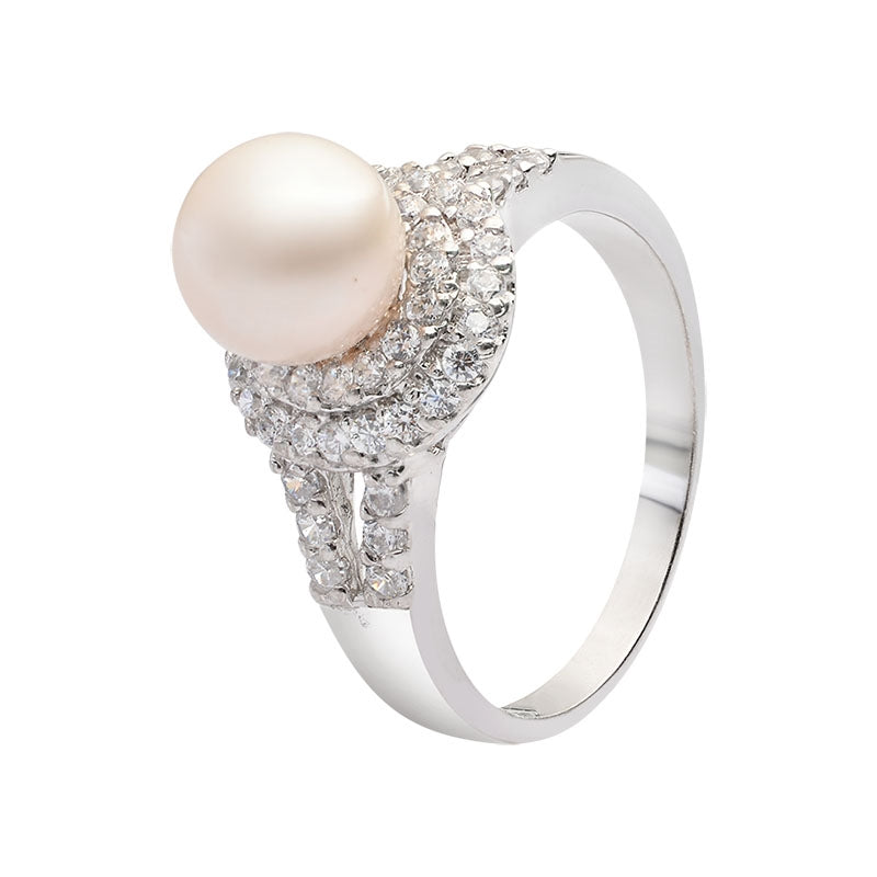 Nhẫn Ngọc trai Nước ngọt double halo ring - AME Jewellery