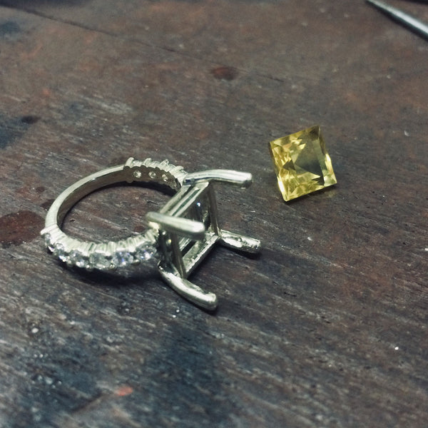 citrine white gold unfinished ring - AME Jewellery