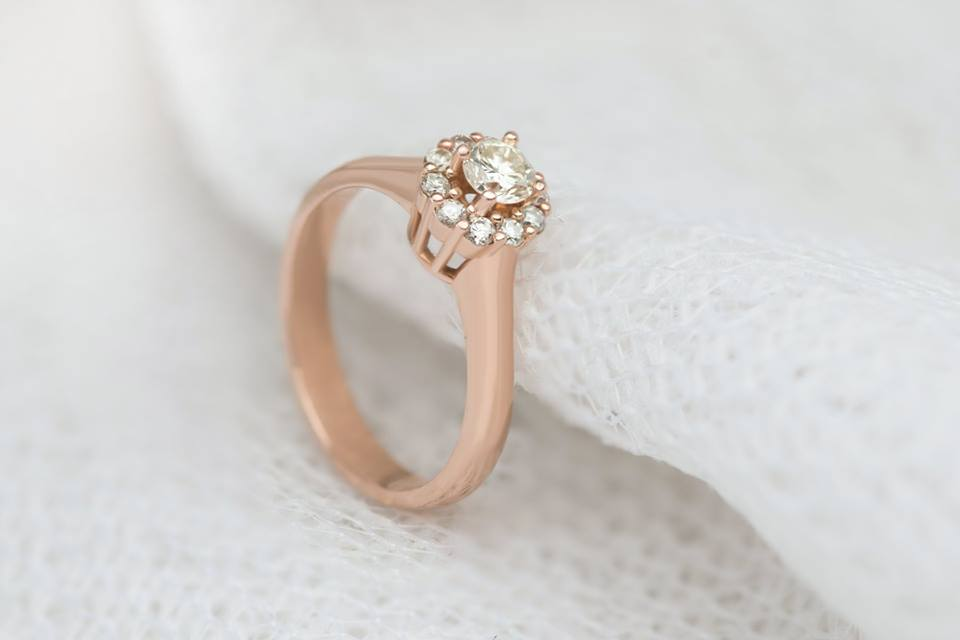 Diamond Flower Ring in Rose Gold - AME Jewellery