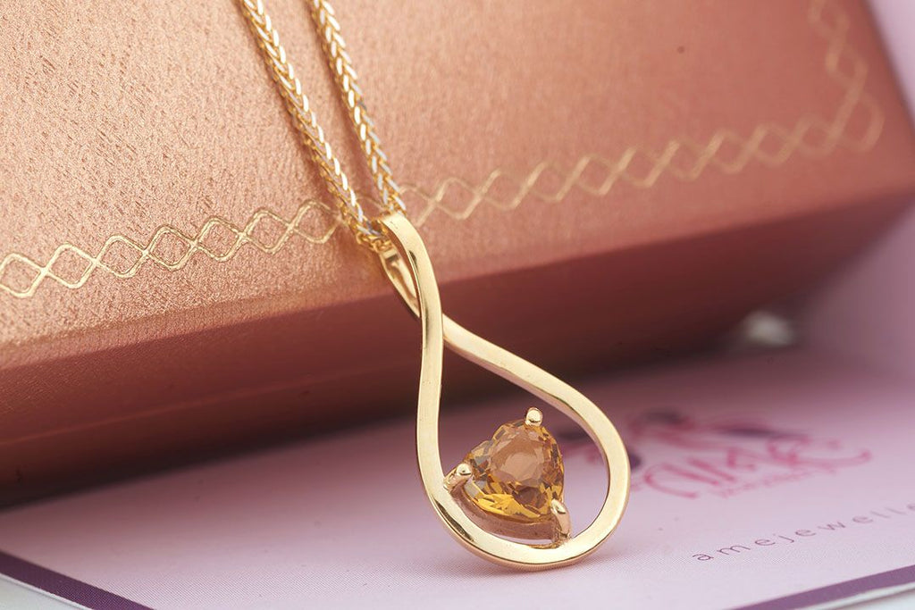 Natural Heart cut Citrine Pendant in 14K Yellow Gold - AME Jewellery