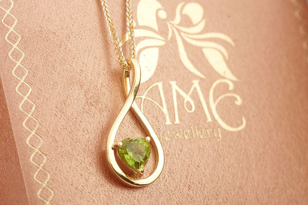 Natural Heart cut Peridot Pendant in 14K Yellow Gold - AME Jewellery