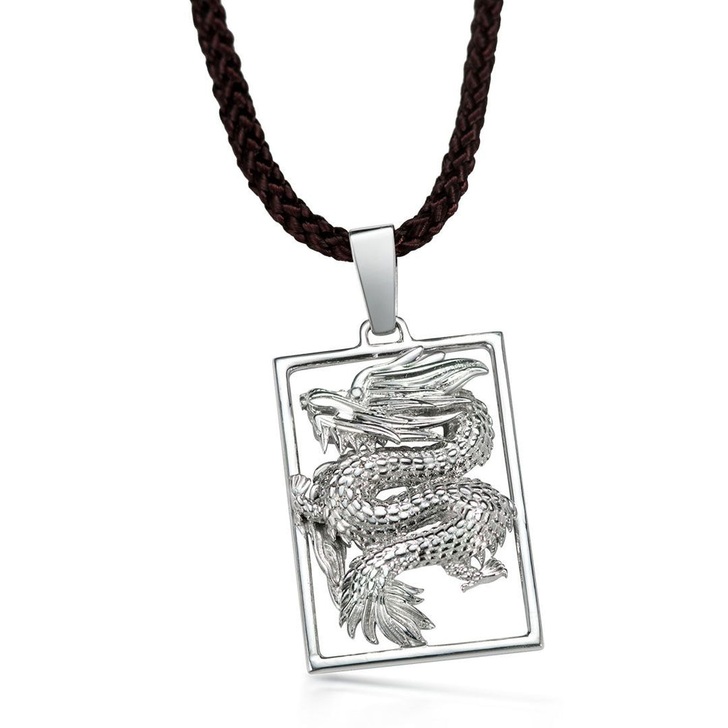 Mặt dây Nam Rồng Bạc - Dragon Silver Pendant - AME Jewellery