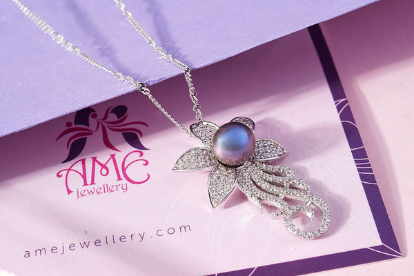 Mặt dây Ngọc trai nuôi nước ngọt Peacock Freshwater Pearl Flower Pendant - AME Jewellery