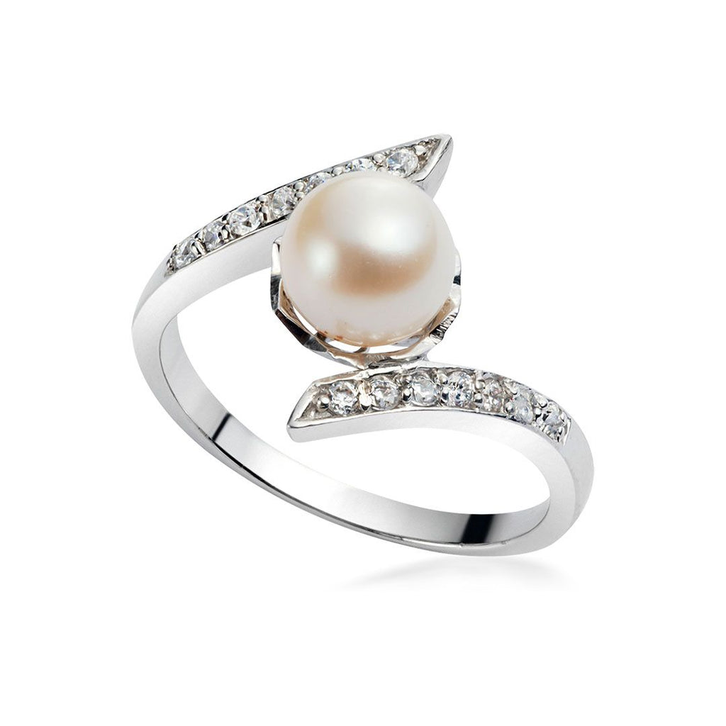 Nhẫn Ngọc trai Nước ngọt Freshwater Pearl bypass ring AME Jewellery