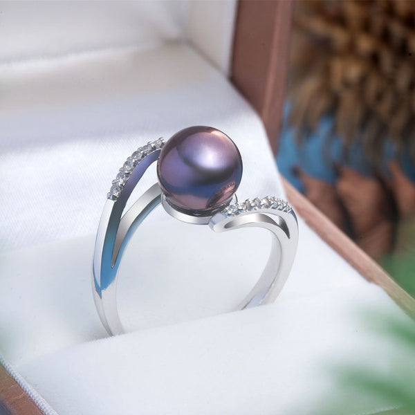Nhẫn Ngọc trai Nước ngọt peacock pearl bypass ring AME Jewellery