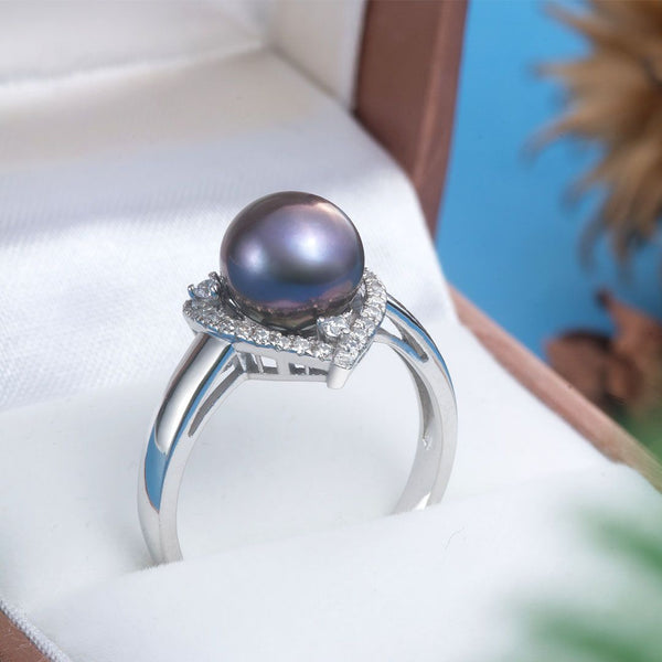 Nhẫn Ngọc trai peacock freshwater pearl triangle ring AME Jewellery