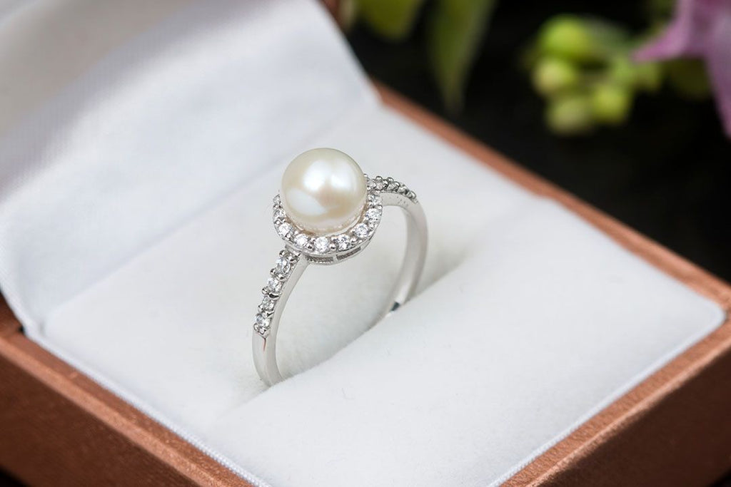 Nhẫn Ngọc trai Nước ngọt Freshwater Pearl halo ring - AME Jewellery
