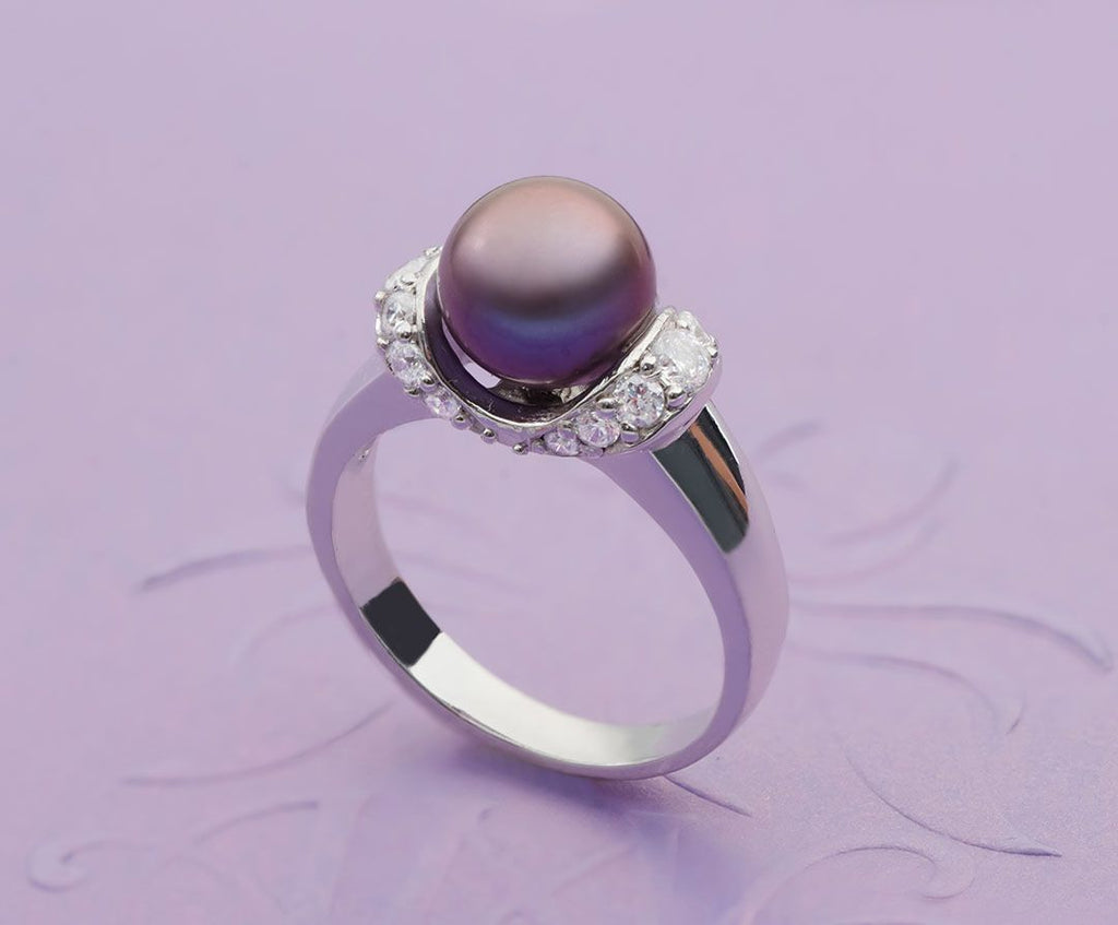 Nhẫn Ngọc trai nước ngọt Peacock Freshwater Pearl accent ring - AME Jewellery