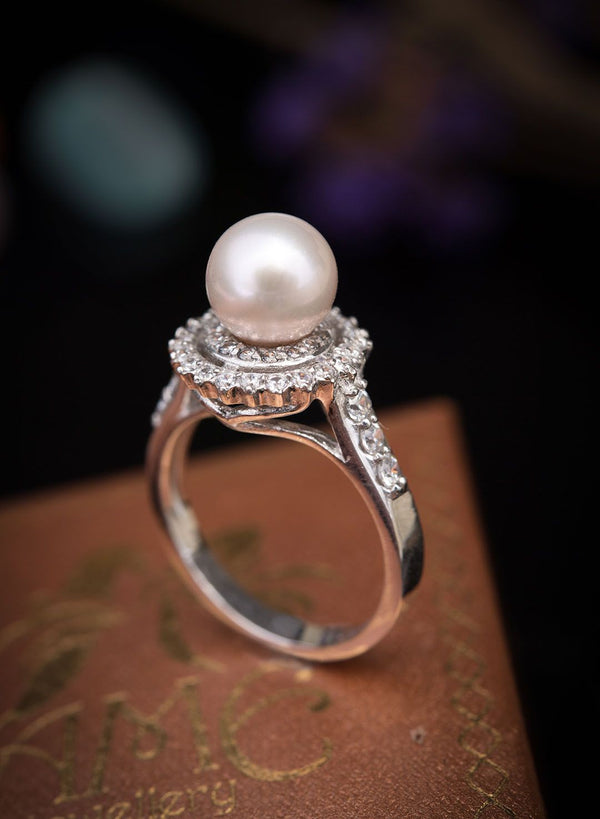 Nhẫn Ngọc trai nước ngọt trắng Freshwater Pearl double halo ring - AME Jewellery