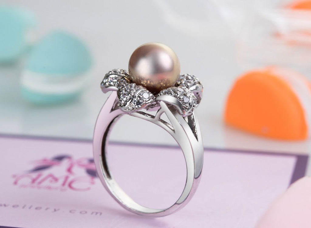Nhẫn Ngọc trai nước ngọt Lavender Freshwater Pearl Flower Ring - AME Jewellery