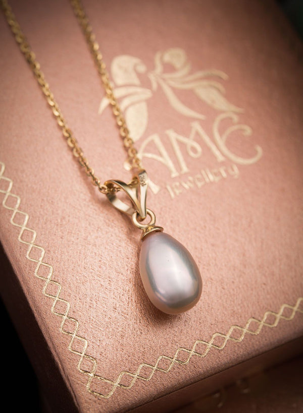 Mặt dây Vàng 14K Ngọc trai lavender Freshwater Pearl gold pendant - AME Jewellery
