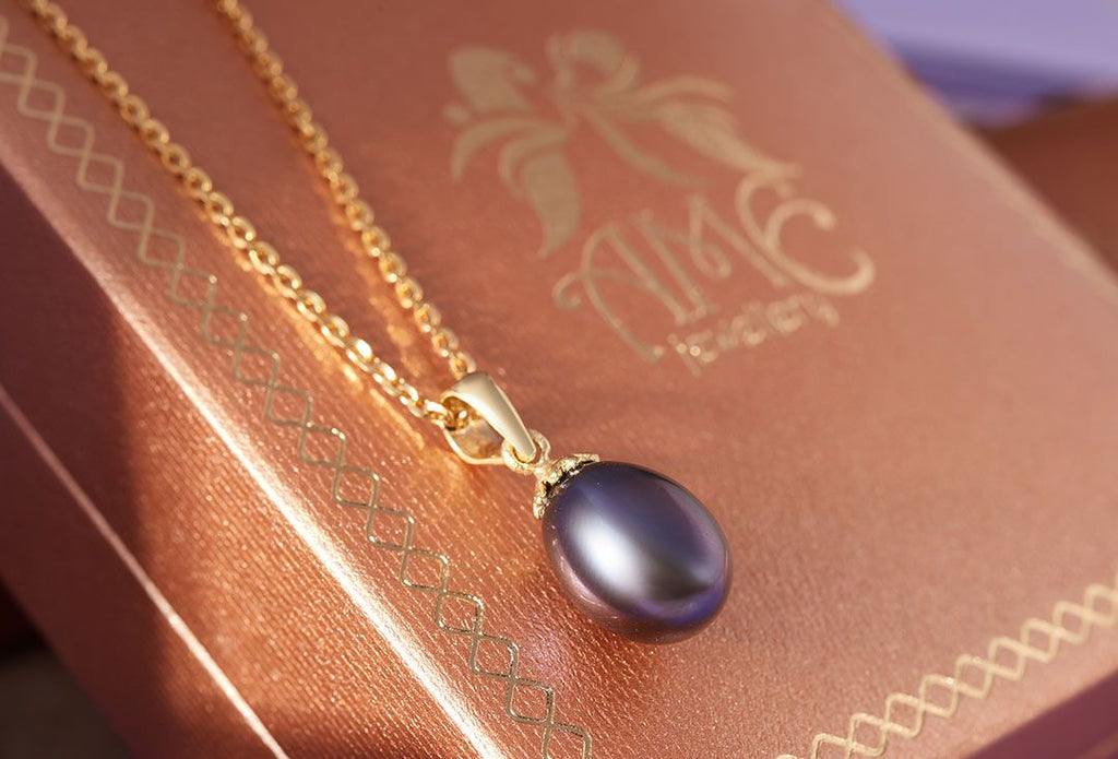 Mặt dây Vàng 14K Ngọc trai Peacock Freshwater Pearl Gold Pendant - AME Jewellery