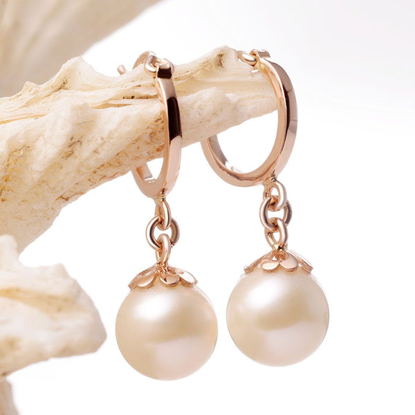 Bông tai Vàng Hồng Ngọc trai Freshwater Cultured Pearl Rose Gold Earrings - AME Jewellery