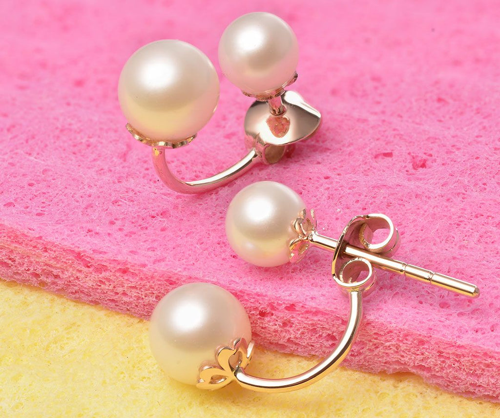 Bông tai vàng ngọc trai Freshwater pearl earrings in 14k rose - AME Jewellery