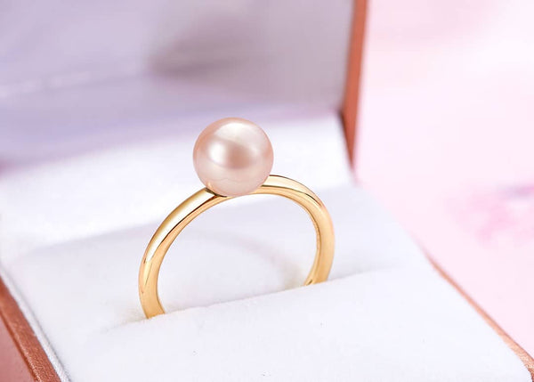 Nhẫn Vàng 14K Ngọc trai Pink Freshwater Pearl Gold Ring | AME Jewellery