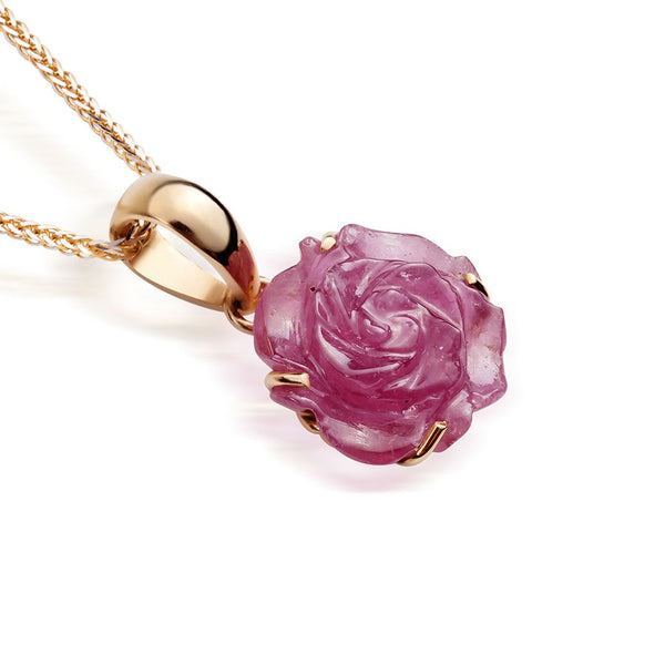 Mặt dây vàng hoa hồng Ruby Carved Rose Flower Pendant - AME Jewellery