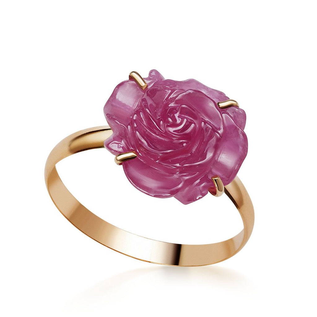 Nhẫn vàng hoa hồng Ruby Carved Rose Flower Ring - AME Jewellery