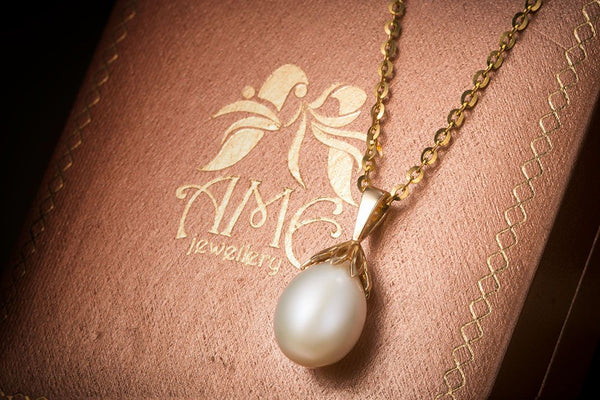 White Freshwater Drop Pearl Pendant in 14K Yellow Gold - AME Jewellery