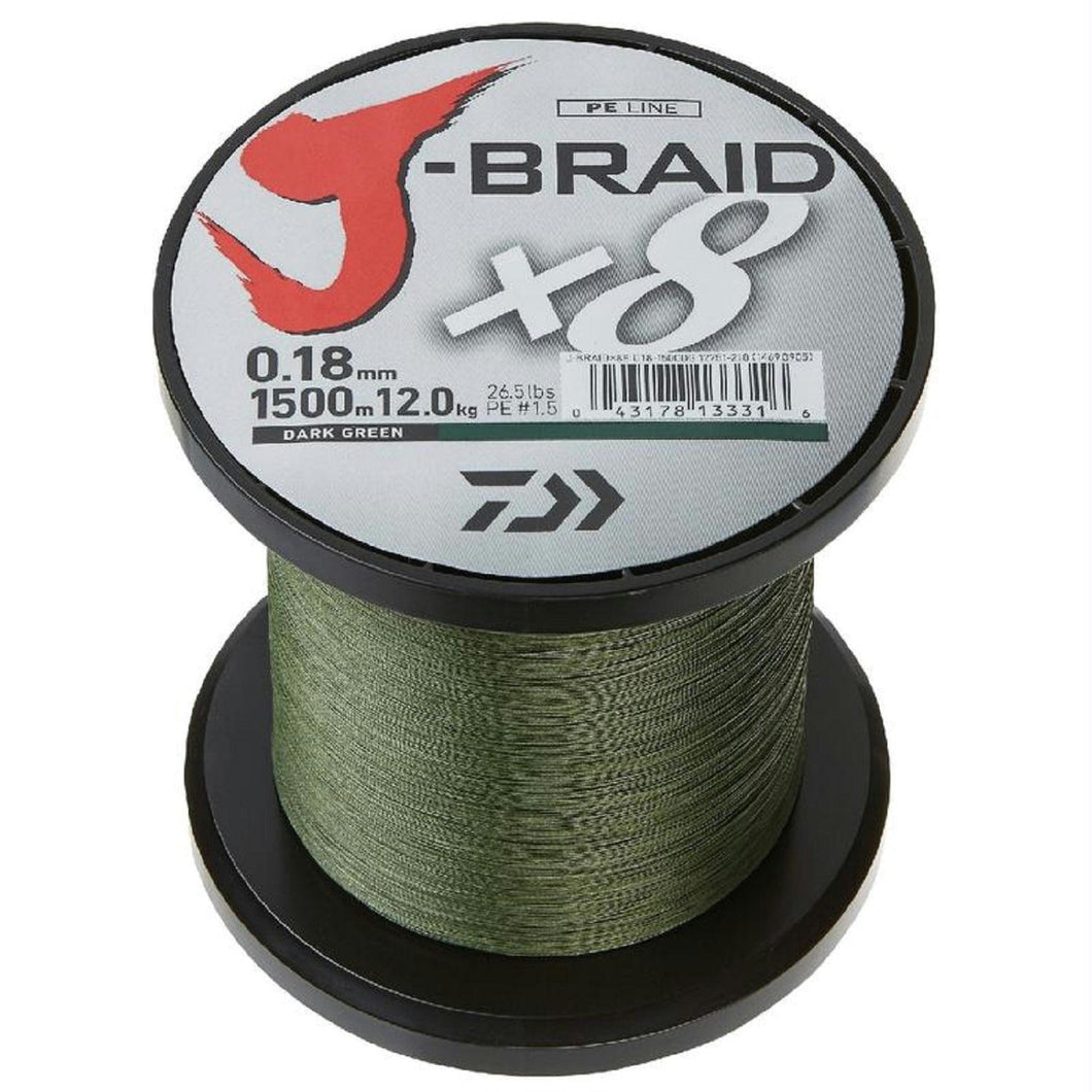 Daiwa J-Braid X4 300 Yard Spool 15LB Test - Dark Green