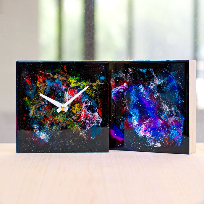 Galaxy resin art / clock (intermediate)