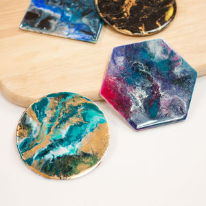Resin art coasters (2 coasters)