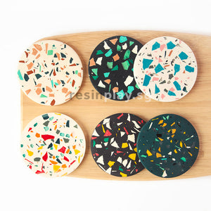 Terrazzo Coaster & Shapes Inlay Starter Kit - Mixing Cups, Stirrers & Sandpaper Included