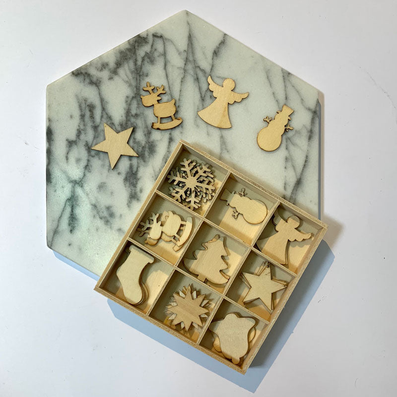 SAMPLE SALE - Box of Wooden Christmas Shapes