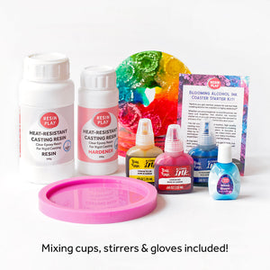 Blooming Alcohol Ink Coaster Starter Kit - Mixing Cups, Stirrers & Gloves Included