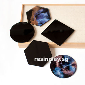 Black Acrylic Coaster Base with Rubber Feet for Alcohol Ink and Resin Art - Set of 2 or 6