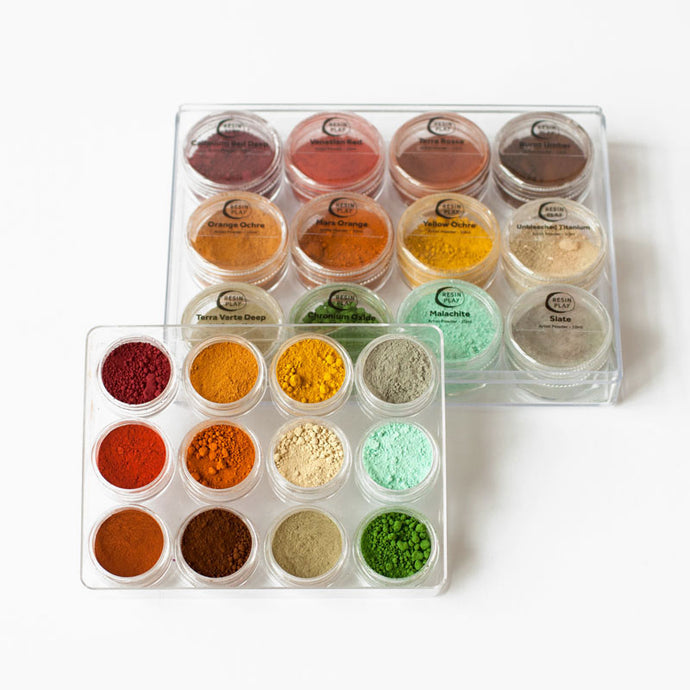 Artist Powder Pigment Set for Resin Art & Jesmonite - Set of 12 Earth Tone Colours