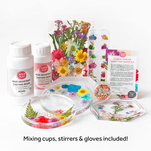 Flowers Forever Trinket Tray Starter Kit - Mixing Cups, Stirrers & Gloves Included