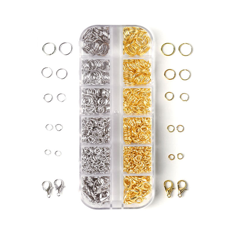 Jump Rings & Lobster Clasps Jewellery Findings Kit - Set of 2 colours (1200 Pcs)