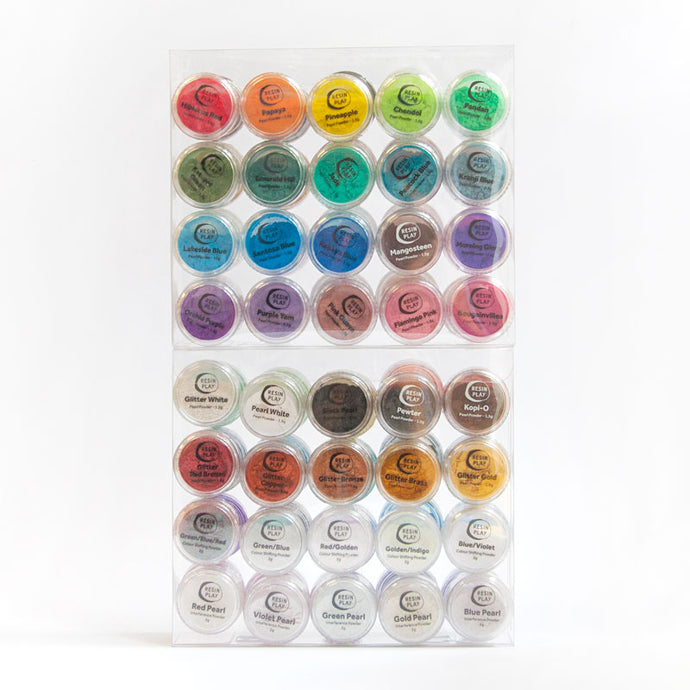 Mega Pearl Powder Pigments - Box Set of 40 Colours