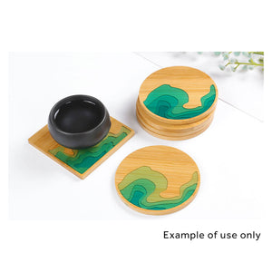 Natural Bamboo Coaster Base for Creating Mini Beaches - Set of 2 or 6