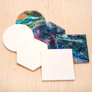 White Acrylic Coaster Base with Rubber Feet for Alcohol Ink and Resin Art - Set of 2 or 6
