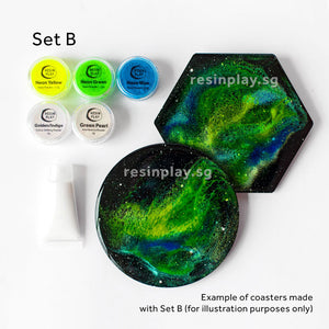 Cosmic Galaxy Coaster Starter Kit - Mixing Cups, Stirrers & Gloves Included