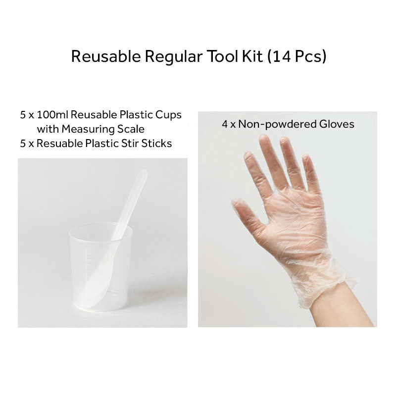 Reusable Regular Tool Kit of Mixing Cups with Measurements, Stir Sticks & Gloves - Set of 14 or 50