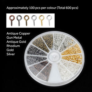 Screw Eye Pins for Resin Jewellery - Set of 6 colours (600 Pcs)