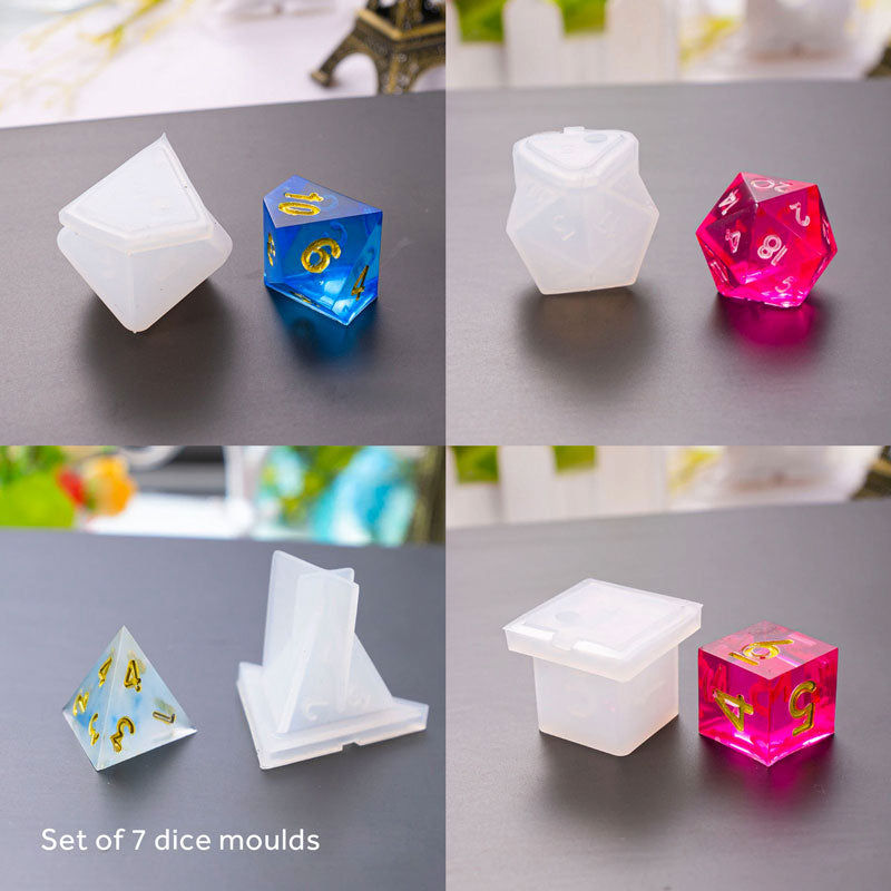 Funky Dice Silicone Moulds - Set of 7
