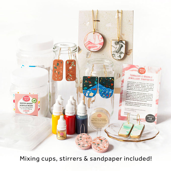 Terrazzo & Marble Jewellery Starter Kit - Mixing Cups, Stirrers & Sandpaper Included