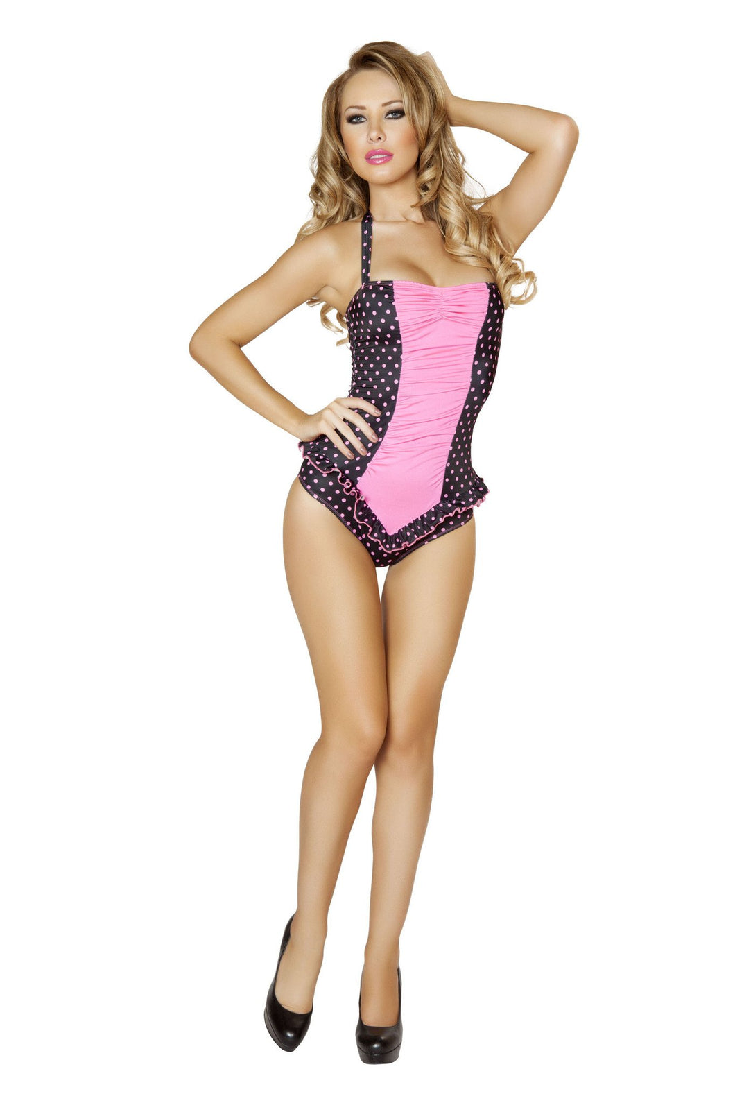 3118 - Black and Pink Polkadot Scrunched Front Pinup Romper